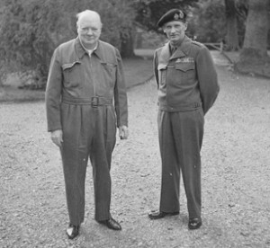 Winston Churchill wearing a Siren Suit beside General Bernard Montgomery.