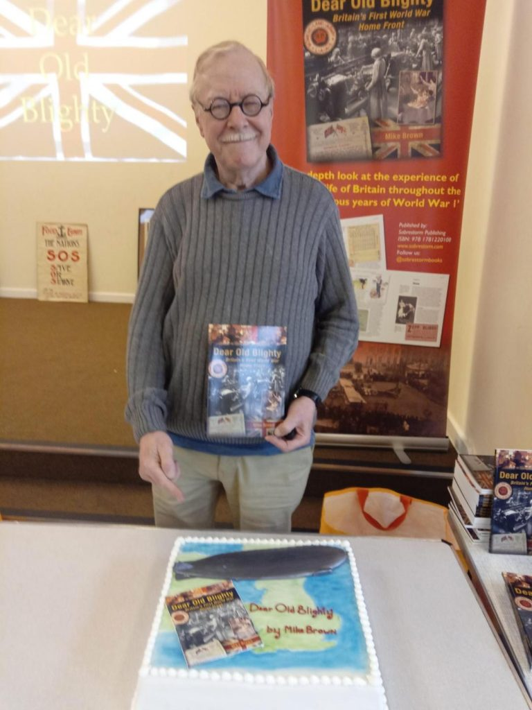 Sabrestorm Author Mike Brown at the launch of 'Dear Old Blighty'