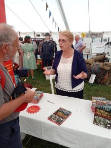 Penny Legg book signing at the Sabrestorm Books stand at RAF Cosford Air Day, June 2018