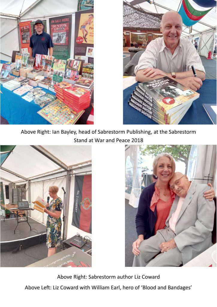 Four images of Sabrestorm authors at the War and Peace Revival 2018