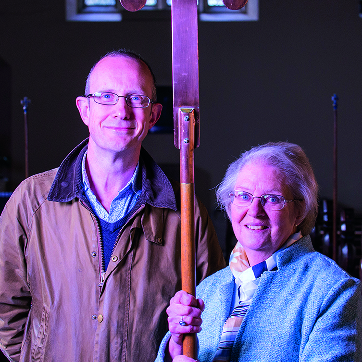 Dr Simon Trew with Rev Reynolds daughter Georgina Spencer